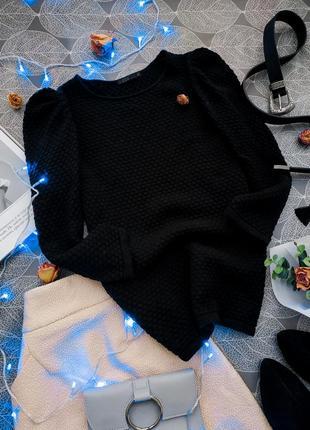 Шикарный черный фактурный свитер cos с рукавами-фонариками