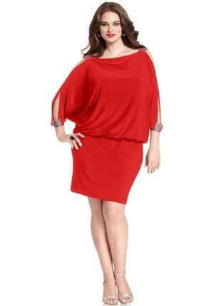 Платье-блузон с широкими стразовыми бретелями и вырезами на плечах 18w(usa) 5c83cfeac7a64