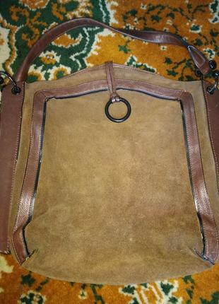 Кожаная замшевая сумка