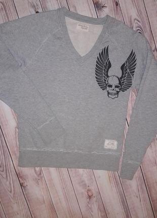 Свитшот пуловер с черепом и крыльями от датского бренда jack&jones