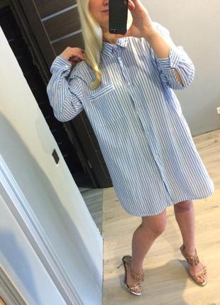 Хлопковое платье рубашка от h&m пог 64