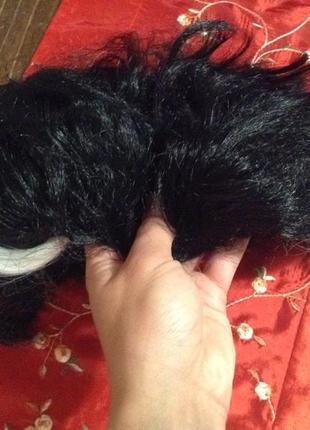 Черный короткий парик с седыми пасмами для косплея сценического образа