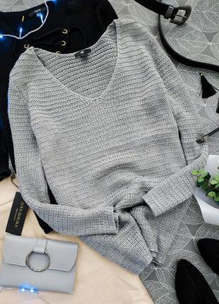 Удлиненный вязаный свитер свободного кроя h&m oversize джемпер