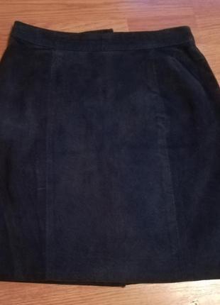Кожаная юбка, натуральный замш, италия
