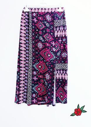 Красивая юбка миди с разрезом красочная юбка миди