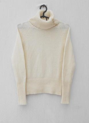 Осенний зимний 100% шерстяной свитер реглан под горло с длинным рукавом