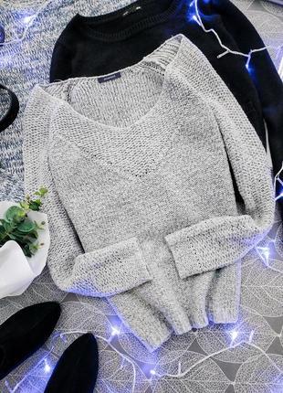 Серебристый вязаный объемный джемпер promod свитер с люрексовой нитью