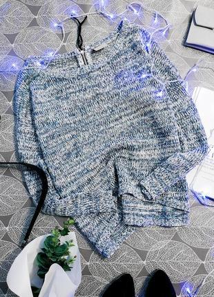 Вязаный овэрсайз свитер свободного кроя vero moda джемпер с молнией на спине