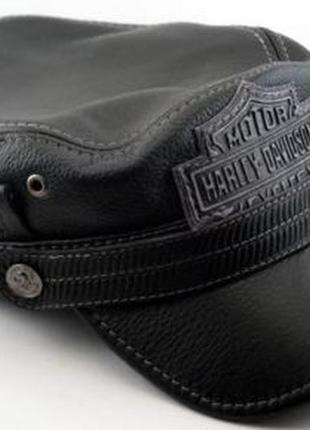 Кожаная байкерская кепка-немка harley davidson.