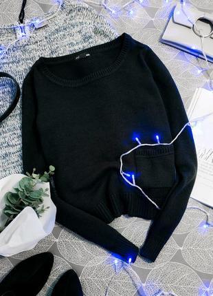Базовый вязаный кроп джемпер h&m укороченный свитер с карманом
