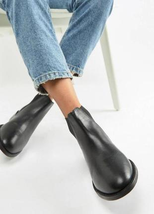 Ботинки челси черные кожаные