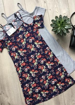 Платье в цветочный принт с открытыми плечами h&m