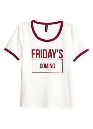 Хлопковая белая укороченная футболка с надписью текстом h&m кроп топ майка h&m h&m