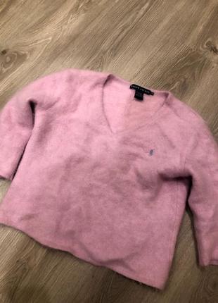 Кроп свитер из ангоры ralph lauren