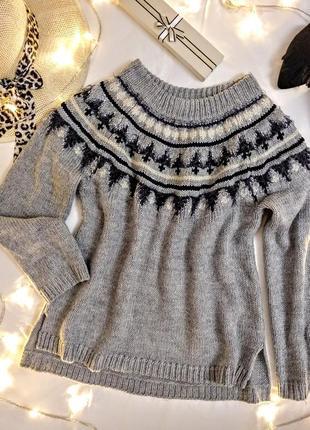 Теплый свитер lindex с орнаментом
