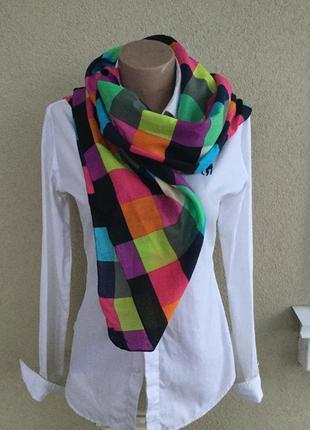 Большой,веселенький платок,шарф,палантин в разноцветную клетку,хлопок