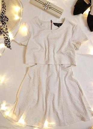 Оригинальное белое платье мини от topshop