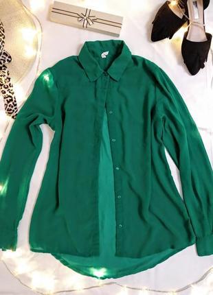 Зелёная шифоновая блузка