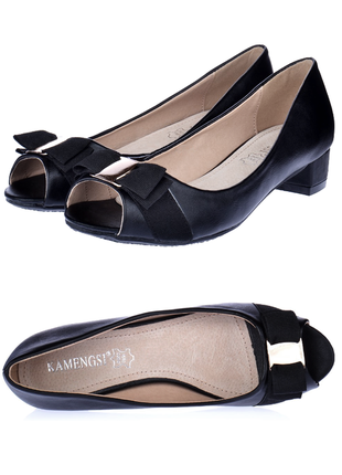 Туфли черные с открытым мысом на маленьком каблуке балетки лодочки 24см