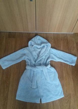 Шикарнейший фирменный махррвый пушистый халатик marks&spenser на 5-6 лет