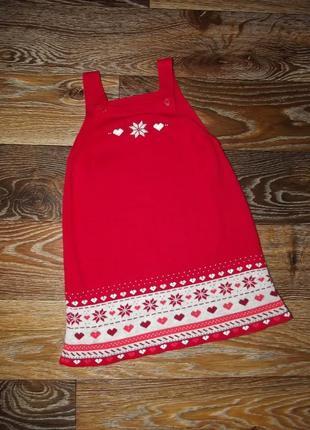 Шикарный красный новогодний сарафан с орнаментом nutmeg 1,5-2 года