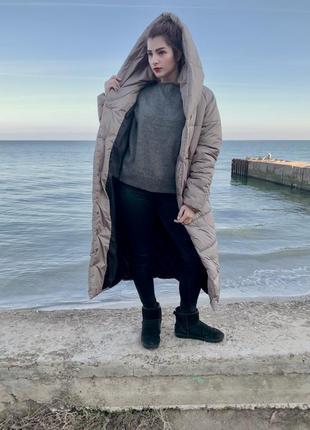 Пальто-одеяло оверсайз на кнопках зимнее новое длинное тёплое и объёмное2