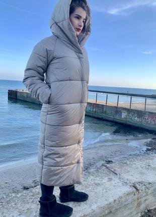 Пальто-одеяло оверсайз на кнопках зимнее новое длинное тёплое и объёмное3