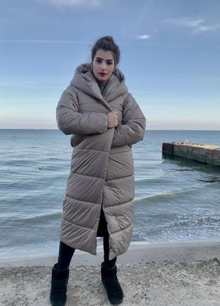 Пальто-одеяло оверсайз на кнопках зимнее новое длинное тёплое и объёмное5