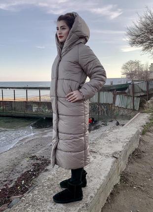 Пальто-одеяло оверсайз на кнопках зимнее новое длинное тёплое и объёмное