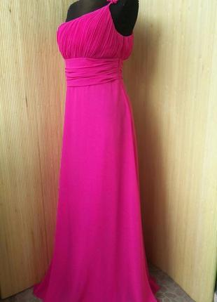 Вечернее / выпускное розовое платье бюстье на рдно плечо ever ptritty