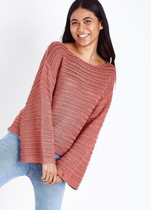 Нежный вязаный джемпер оверсайз, свободный рукав, объёмный пуловер new look