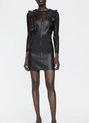 Платье, сукня, кожаное zara