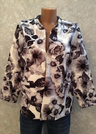 Жакет пиджак в цветы из плотной ткани papaya