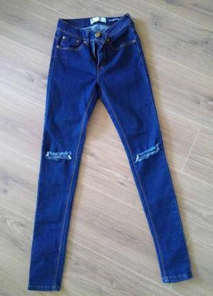 Джинсы брюки джинсовые штаны размер хс 6 скини дудочки