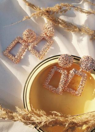 Геометрические серьги розовое золото