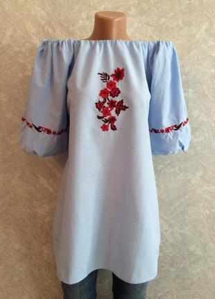 Блуза туника на плечи с вышивкой boohoo