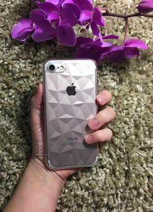 Красивый силиконовый прозрачный чехол с кристаллами на айфон iphone 7 / 8