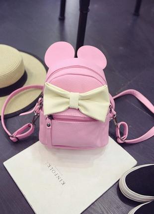 """Маленький рюкзак с ушками  """"микки маус""""- розовый"""