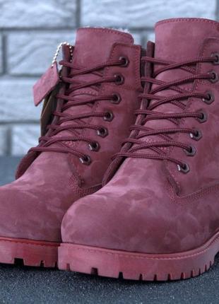 Женские бордовые зимние ботинки timberland натуральный мех 36 37 38 39 40  41 рр f1f87cbfcdc