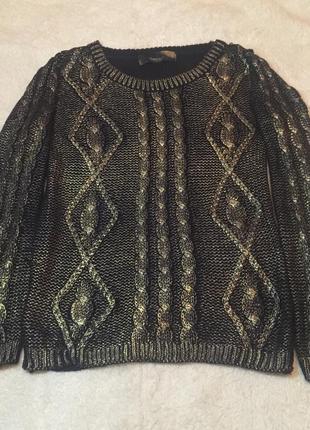 Вязаный свитер с золотой накаткой , кольчуга m-l 44-46