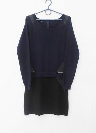 Осеннее зимнее теплое  платье с длинным рукавом на молнии  60% шерсть 20% ангора