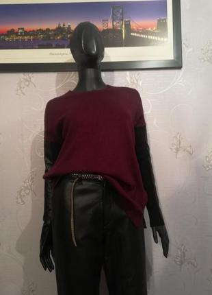 """Стильный свитер с кожаными рукавами """"river island"""" oversize"""