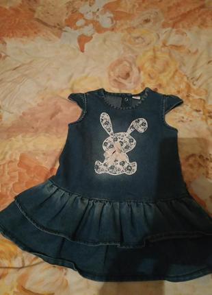 Платье джинс с зайчиком