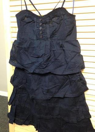 Коротенький сарафан темно-синего цвета