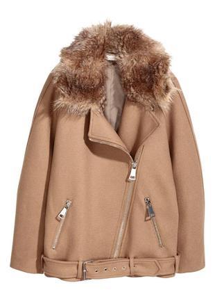 Пальто изсмессовой шерсти h&m 14.xl,пальто косуха кемел hm xl