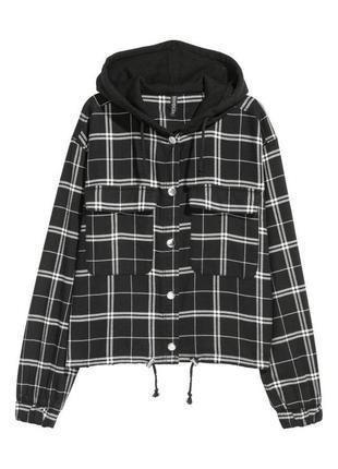 Фланелевая клетчатая куртка-рубашка hm xs
