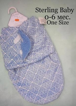 0-6м.новая пелёнка-кокон, конверт на липучках с меховой подкладкой sterling baby