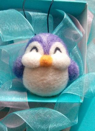 Подвеска брелок валяный пингвин пингвинчик ручной работы сухое валяние
