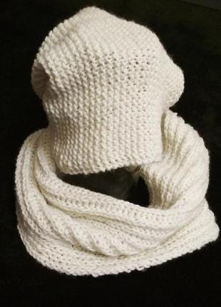 Комплект шапка+шарф-снуд, hand-made