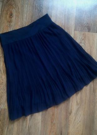Женская темно-синяя плиссированная юбка-плиссе (складками) h&m, р.8, m
